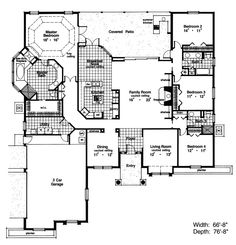 """2962 Total Heated Square Feet 1st Floor 2962 Width: 66'-8"""" Depth: 76'-8"""" 4 Bedrooms 3 Full Baths 3-Car Garage 3-Car Attached, Side Entry Size: 21'-0"""" x 30'-0"""" Door 1: 8x7 Door 2: 16x7 Standard Foundation - Slab Exterior wall framing - Concrete slab"""