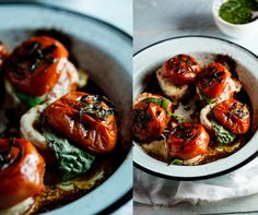 Roasted Caprese Tomatoes with Basil Dressing.