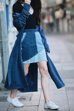 navy trench coat, bodysuit and denim skirt