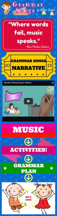 "(Free Grammar Videos and Activities) Narrative Writing Song by Melissa... I actually wrote this song as a request from a fellow teacher. This song discusses topic sentences,supporting details, indenting paragraphs, problems, resolutions, beginnings, and transitions. The chorus creates a metaphoric parallelism between writing a story and taking your reader on a ""magic carpet ride."" The song can inspire young learners to use creativity and imagination when writing narrative pieces."