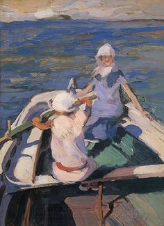 In the Boat : Nikolaos Lytras : Expressionism : genre painting - Oil Painting Reproductions Greek Paintings, Paintings I Love, Oil Paintings, Boat Painting, Figure Painting, Art And Illustration, Klimt, Greek Art, Art Database