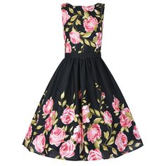 'Audrey' Pink Rose Border Swing Dress