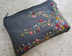 Hand embroidered Lavender Flowers on Natural Linen and Cotton Zipper Pouch, Floral Cosmetic Bag, Lavandula angustifolia Embroidery Embroidery Purse, Hand Embroidery Videos, Hand Embroidery Tutorial, Flower Embroidery Designs, Ribbon Embroidery, Floral Embroidery, Embroidery Patterns, Sewing Art, Sewing Crafts