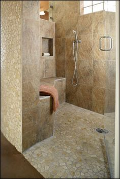 Universal design for walk-in shower.  #homewithoutage  #aginginplace>>> See it. Believe it. Do it. Watch thousands of spinal cord injury videos at SPINALpedia.com