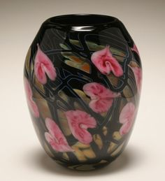 John Lotton American Studio art glass vase, 1991.