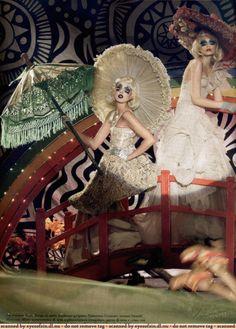 "Vogue Italia September 2006 ""The Couturettes"" by Steven Meisel with Lily Donaldson, Agyness Deyn, Mimi Roche, Tayla Collins Dark Circus, Circus Art, Circus Theme, Circus Fashion, Fashion Art, Editorial Fashion, Fashion Design, Style Fashion, Cabaret"