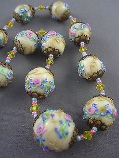 X_RARE! Vintage YELLOW Venetian Wedding Cake Drizzle Glass Bead Necklace