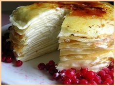 """This """"Crepe Cake"""" is made with layers of crepes and pastry cream. High effort desert recipes always interest me for some reason."""