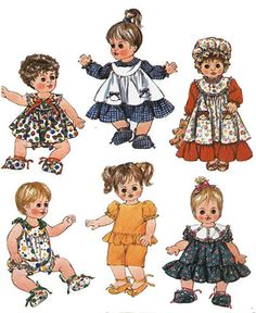 Vintage BABY DOLL Clothes Sewing Pattern - Dolls Wardrobe in TWO Sizes Uncut & Mint