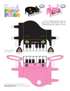 Grand piano cute printable would be good to tape to valentine boxes