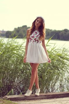 Dress/ flower crown and those little sneakers! Aw cute way to do my boho chic