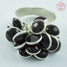 GARNET STONE BEADED DESIGN 925 STERLING SILVER RING,R5026, Sz. 8 US #SilvexImagesIndiaPvtLtd #Statement #AllOccasions