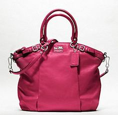 COACH KRISTIN ELEVATED LEATHER ROUND SATCHEL (I'd LOVE this in deep purple, red or black)