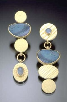 Carol Henning: earrings, 18 karat gold   sterling silver, opal doublets, opal