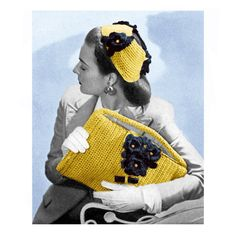 1940's Clutch Purse & Flower Hat: vintage crochet pattern
