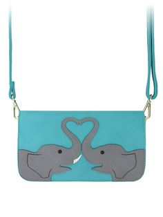 Elephant Love Turquoise Leather Shoulder Bag Uk Oneposter Hy