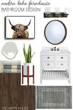 Modern Boho Farmhouse Bathroom Makeover Before & Design Board | The Happy Housie | We have plans to update an old tired vanity and shower with luxury vinyl flooring, a new vanity and some accessories to bring this room to life. #modernboho #bathroomrenovation