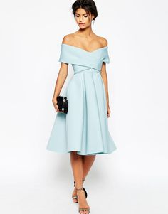 ASOS+Premium+Scuba+Off+The+Shoulder+Midi+Dress