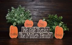 Thanksgiving Block Set-Personalized Wood Block Love Set - fall decor primitive block gift fall wood sign Personalized Thanksgiving Decor on Etsy, $15.99