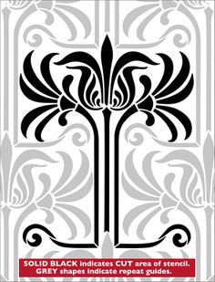 Repita No stencil 23 de la serie Biblioteca ART NOUVEAU Stencil. Comprar plantillas en línea. Stencil código DE232.