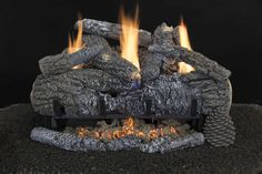 """Yukon Char - Available in 18"""", 24"""" and 30"""" for Natural Gas or Liquid Propane Gas, with variable BTU ratings from 30,000 to 35,000.  24"""" Set shown Gas Logs, Fireplace Ideas, Outdoor Decor, Southern, Spa, Free, Patio, Natural, Collection"""