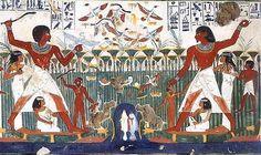 Pintura mural de la Tumba de Najt. Sheik'Abd el-Gurna. Reino Nuevo. XVIII Din.  Se perfecciona el estilo en el tratamiento del cuerpo, las formas se alargan, la pose y los contornos se vueleven menos rígidos. Los colores están más logrados, permitiendo plasmar transparencias. Destacan las joyas y detalles en los tocados, las ricas y elegantes vestimentas de las damas.