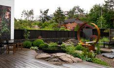 Jungle Gardens, Backyard, Patio, Black Decor, Evergreen, Landscape Design, Home Garden Design, Landscaping Ideas, Outdoor Decor