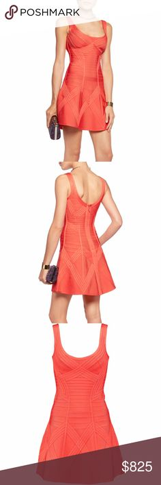 """Herve Leger Knit Fit-and-Flare Bandage Dress Ordered multiple styles of Hervé Léger bandage dresses from Neiman Marcus for an event, and forgot to return the unworn dresses in time. Approximately 35""""L from shoulder to hem. Scoop neckline in front and back. Sleeveless; moderate shoulder coverage. Fit-and-flare silhouette. Bands graduate in width for hourglass effect. Hidden bound back zip. Signature Herve Leger knit of rayon/nylon/spandex. Perfect, unworn condition (brand new with tags), in…"""