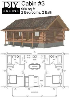 Cabins and Cottages: Because of their rustic look and generally straightforward layout, log cabins go hand in hand with simplicity. These floor plans prove that they also fit perfectly with the idea of tiny house living! Little Log Cabin, Tiny House Cabin, Log Cabin Homes, Tiny House Living, Small House Plans, Small House Diy, Two Bedroom Tiny House, Small House Layout, Bungalow