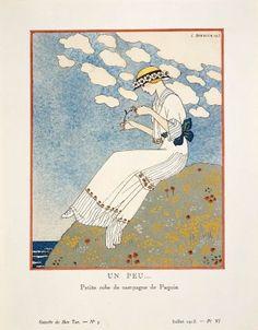 """""""Un Peu... - Petite robe de campagne de Paquin"""", Gazette du Bon Ton, 1913; MFA 2004.14.6"""