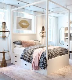 Teen Girl Bedrooms - An exciting to breath taking pool of teen room decor ideas and examples. For added enjoyable teenage girl room styling info why not jump to the link to read the pin tip 6071508823 immediately. Small Room Bedroom, Dream Bedroom, Small Rooms, Diy Bedroom, Bed Room, Bedroom Themes, Small Spaces, Pretty Bedroom, Spare Room