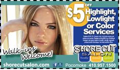 Treat yourself with a new back-to-school salon trip at Shore Cut Salon in Pocomoke, MD.  Start of the school year with a fresh look and save $5 off highlight, lowlight, or color services when you use your Frugals coupon, www.frugals.biz.  See what else Shore Cut Salon can do for you at www.shorecutsalon.com