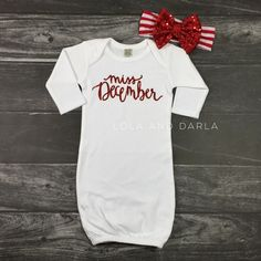 Miss December SET white infant baby gown with red sparkle and red sparkle bow Babies First Christmas, Christmas Baby, Little Babies, Cute Babies, Baby Gown, Baby Girl Gowns, December Baby, Kids Outfits, Newborn Outfits
