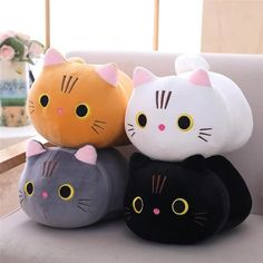 Cartoon Soft Cat Plush Toy Children's Toy Sofa Pillow Cushion Down Cotton Padded Toy Gift Children's Room Decoration Food Kawaii, Chat Kawaii, Kawaii Cat, Kawaii Girl, Kawaii Makeup, Kawaii Room, Kawaii Anime, Stuffed Animal Cat, Cute Stuffed Animals