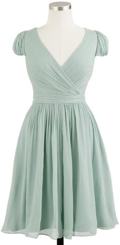 I love it! J.crew Mirabelle Dress in Silk Chiffon in Green (dusty shale)