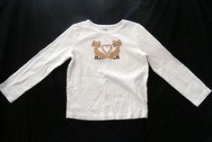 GYMBOREE Graphic Tee, White Long sleeves 2 Brown Cat embroidery 100% Cotton Sz 7 #Gymboree