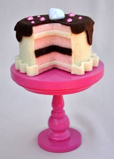 Handmade ivory mini felt cake with hot pink by TheSugarStand, $12.00