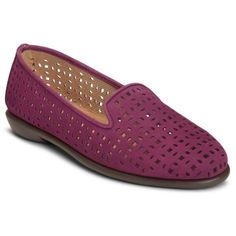 Aerosoles Purple Nubuck You Betcha Casual Shoe - Women's ($79) ❤ liked on Polyvore featuring shoes, purple nubuck, embellished shoes, perforated loafers, aerosoles shoes, nubuck shoes and aerosoles
