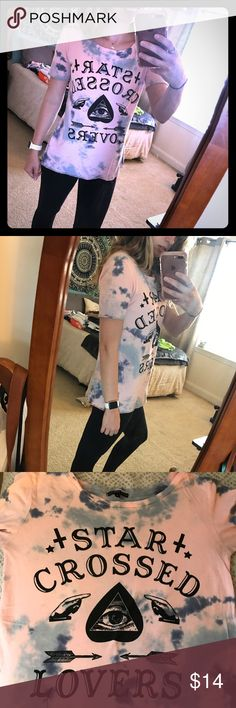 Star crossed lovers tie-dye tee Tunic style, longer arms. Super cute!!! Cotton candy tie-dye with graphics. A little wear in the armpit, but just ready to retire from my closet so MAKE AN OFFER!! Truly madly deeply brand but purchased from Urban. Urban Outfitters Tops Tees - Short Sleeve