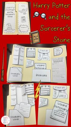 Harry Potter Lapbook for Novel Study- engage students with this fun project *Vocabulary Word File with Suggested List *Monitor/Clarify with Mystery Clues *Bookcase with two Mini-Book Options *Character Traits Analysis *Evaluation