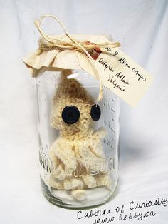 Curious Crochet Creature by bekky O'Neil Cabinet Of Curiosities, Place Cards, Creatures, Place Card Holders, Jar, Crochet, Projects, Crochet Hooks, Log Projects