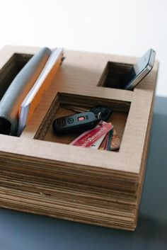 DIY catch-all/organizer/tech station made of cardboard.makekind: a guest column by laura parke of a girl who makes | Design For Mankind
