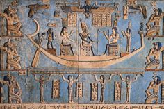 Osiris in the moon boat with Isis and Nephthys from Denderah