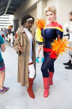 and Ms Marvel! I was so happy to finally get a photo with some of my favorite people in these costumes! Carol Danvers is bellechere Monica Rambeau is. Ms Marvel, Captain Marvel, Crazy Costumes, Canada Goose Jackets, Harajuku, Dress Up, Winter Jackets, Cosplay, My Favorite Things
