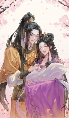 Jin Jizuan, Jiang Yanli junto al pequeño Jin Ling 💛💜 Anime Couples Manga, Cute Anime Couples, Anime Guys, Manga Art, Manga Anime, Chinese Cartoon, Familia Anime, Anime Love Couple, Asian Art