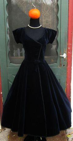 Vintage 1950's Midnight Blue Velvet Bomdshell Dress - Retro Wasp Waist Party Dress