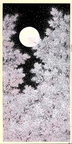 Teruhide Kato Cherry Blossoms under the Moonlight. Japanese Prints, Japanese Design, Japan Painting, Art Asiatique, Art Japonais, Japan Art, Woodblock Print, Oriental, Illustration Art