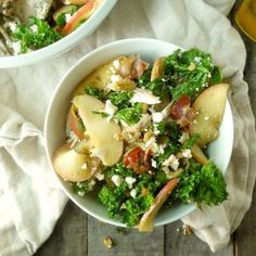 Chicken and Kale Salad with Bacon-Fried Apples and Walnuts