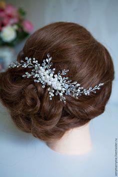 Купить ПРОДАН гребень swarovski и натуральный жемчуг - серебряный, гребень для волос, гребень, для прически