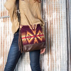 Pendleton Blanket and Leather by Mercy Grey, Co. http://www.countryoutfitter.com/products/84892-womens-plum-leather-bottom-bag/?lhb=style&lhs=p